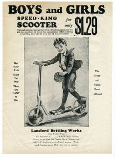 Vess Soda Speed King Scooter Ad Sheet Lansford PA 1910s or 20s