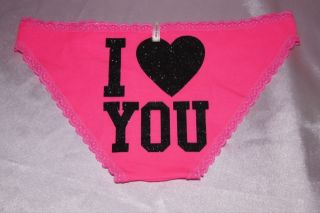 victoria Secret Pink Glitter Sayings Panty Low Rise Bikini