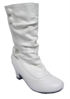 Lasonia Wet Youth Girls White Knee High Trendy Dress Boots