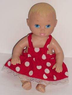 Vintage 9 Lauer Toys Water Babies Doll Red Polka Dot Dress Blue Eyes