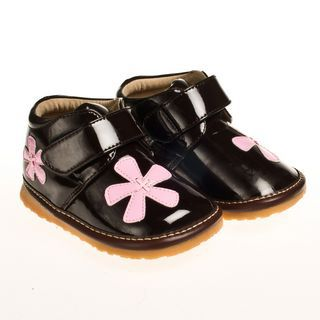 Little Blue Lamb Brown Flower Leather Squeaky Shoes Boots Baby Toddler