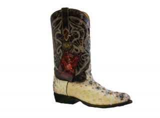 Los Altos Mens Natural Full Quill Ostrich Western Boot 990349 Size 9