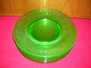 Vintage Depression Uranium Spiral Green Glass 8 Salad Plates Set of 6