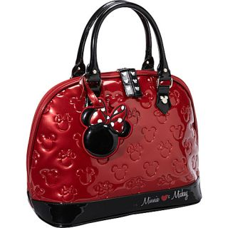 Loungefly Minnie Mouse Red Black Patent Embossed Bag