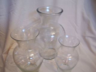 SET OF 3 CLEAR GLASS VASES TABLE OR WEDDING CENTERPIECES 11 9 7 SIZES
