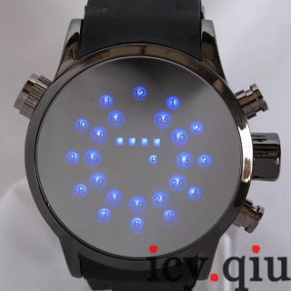 Cool Magic Mirror Circle LED Dial Digital Watch Gift Idea for Men Boy