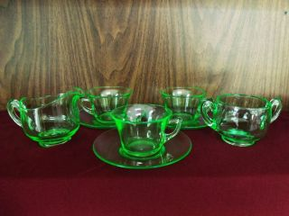three cambridge green depression glass tea cups saucers with creamer