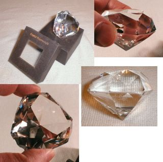 Oleg Cassini Faceted Clear Crystal Art Glass Paperweight