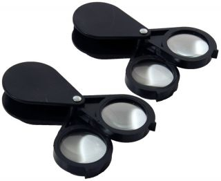 Pair of 20x Pocket Magnifying Glass Magnifiers