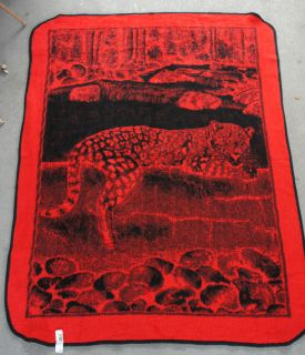 San Marcos Reversible Full Size Red Black Leopard Jungle Scene Blanket