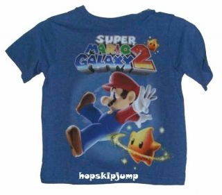 Nintendo Super Mario Bros Galaxy 2 Blue T Shirt Boys M L XL 8 20