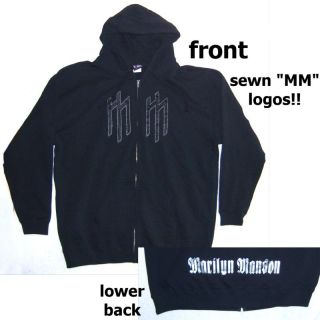 Marilyn Manson Sewn mm Zip Hoody Sweatshirt 2XL New