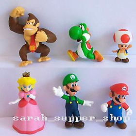 6pcs Super Mario Bros Party Doll Figures Toy Luigi