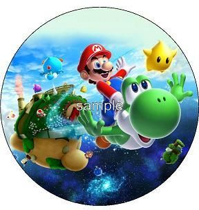 Super Mario Bros Galaxy Edible Icing Cake Image Topper