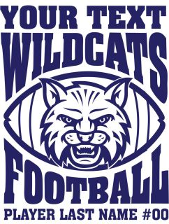 Wildcat Decal Sports Mascot Football Baseball High School Jersey