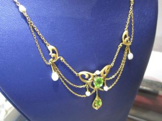 Elegant Antique Art Nouveau 14k Gold Peridot & Sea Pearl Wedding