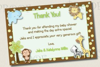 50 Thank You Cards $33 Jungle Baby Shower Birthday 5x7 4x6 Monkey