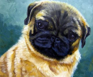 Dog Pug Puppy Original Oil Painting Kathie Mccollough