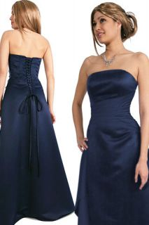 Meg Navy Blue Strapless Corset Bridesmaid Formal Prom Dress New 14