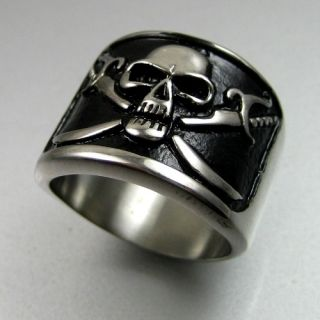 Heavy Biker Mens Black Silver Stainless Steel Sword Skull Ring