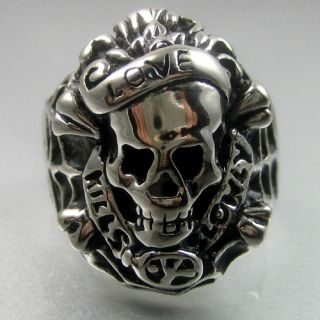 Heavy Love Kills Slowly Stainless Steel Skull Mens Ring