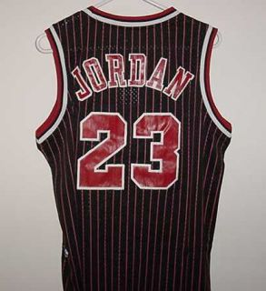 Michael Jordan Chicago Bulls New Black Pinstripped Jersey with Tags