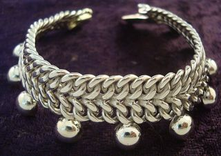 Taxco Mexican Sterling Silver Chain Link Beaded Bead Bracelet Mexico