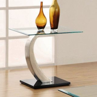 Contemporary Square End Table Glass Top Silver Tone Metal Center Black