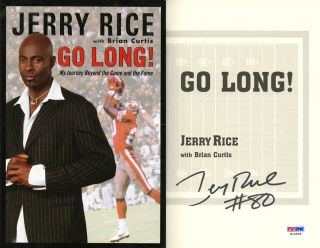 Jerry Rice Signed Go Long Book San Francisco 49ers PSA DNA Autographed