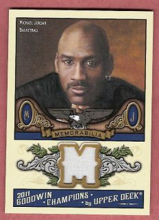 MICHAEL JORDAN GAME USED JERSEY CARD 2011 UD GOODWIN CHAMPIONS CHICAGO