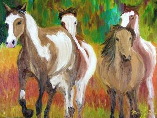 Michael Lee Original Daily Oil Painting Painted Horses Bright Vivid