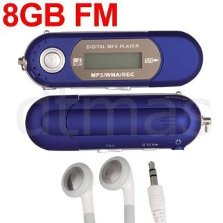 Blue 8GB LCD Mini  WMA Player FM Radio USB Flash Drive