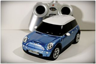Mini Cooper S Rastar 1 24 Remote Control Car Blue Transmitter Gift toy