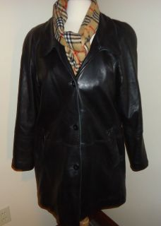 Fleet Street Red Label Womens M Black Leather Jacket Car Coat SOFT