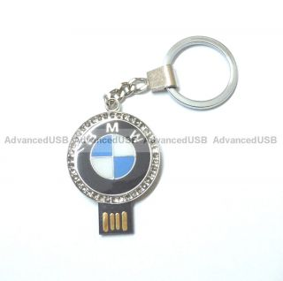 8GB stainless metal round shape USB Flash Drive Pen Drive with BMW