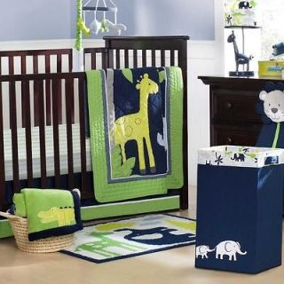 5p Green and Blue Jungle Safari Giraffe Neutral Baby Crib Bedding Set