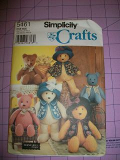 ASSORTED TEDDY BEARS STUFFED ANIMAL SEWING PATTERN