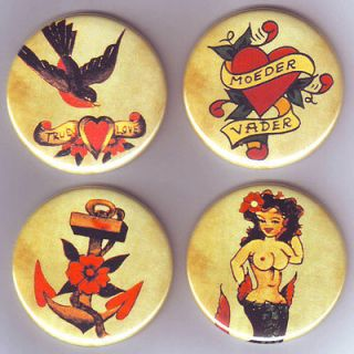 RETRO VINTAGE TATTOO Set of 4 Large FRIDGE MAGNETS