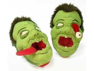 ZOMBIE MEN WOMAN GREEN SCARY MONSTER AFOOT PLUSH SLIPPERS