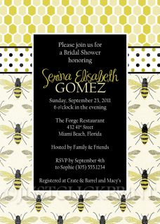 Honey Bumble Bee Bridal Shower Sprinkle or Baby Shower Invitation