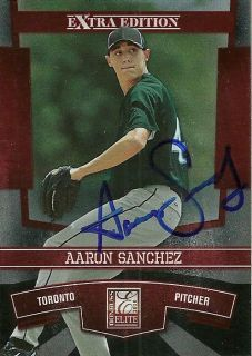 Donruss Elite AARON SANCHEZ Signed Card BLUE JAYS auto rc Barstow, CA