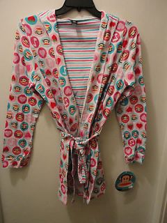 Paul Frank Julius Monkey Face Hooded Robe Pajamas PInk Hearts