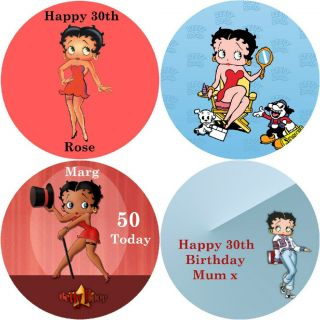 BETTY BOOP / PERSONALISED ROUND EDIBLE ICING SHEET CAKE TOPPERS