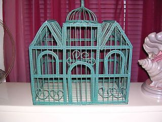 DECORATIVE METAL HOUSE 16 BIRD CAGE   GREEN   DECOR ONLY   RARE