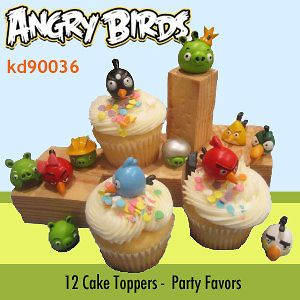 12 Angry Birds Figure Birthday Party Cake Cupcake Toppers Decorations