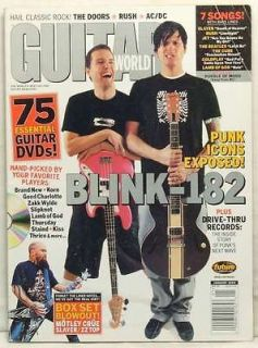 GUITAR WORLD MAGAZINE BLINK 182 MARK HOPPUS TOM DELONGE THE DOORS RUSH