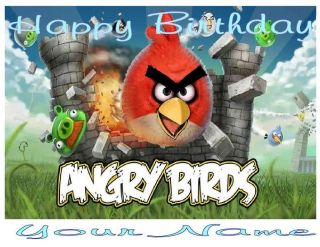 Angry Birds   Edible Photo Cake Topper   $3.00 ship