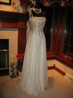 Sherri Hill 2496 Ivory Gold Winning Pageant Gown Dress 12