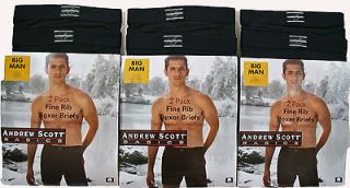 BIG MENS 6 BOXER BRIEFS 3X BLACK 50 52 UNDERWEAR 3XL #065AS 326 3X