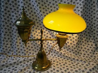 HTF BRADLEY & HUBBARD BRASS SWING ARM TABLE LAMP W/ YELLOW SHADE